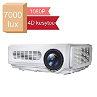 Gzunelic 7000 lumens Native 1080p LED Video Projector ± 50° 4D Keystone X / Y Zoom 10000:1 Contrast Full HD Home Theater LCD Proyector Built in HI-FI Stereo Sound Box