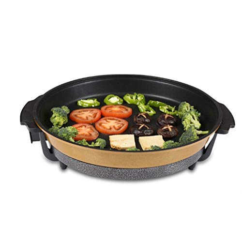 LYATW Electric BBQ Grill Outdoor/Indoor, Nonstick Portable Grill Cooking Pot+ Flat Baking Tray-1200w