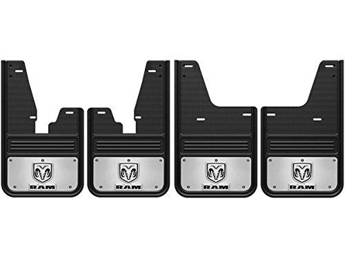 Gatorback RAM Head Logo No-Drill Truck Mud Flaps (2009-18 RAM Set - SRW With OEM Flares) (Logo Mud Flaps)