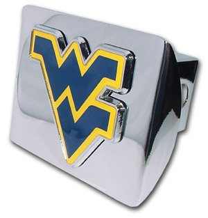 - West Virginia Mountaineers Premium Chrome Metal Trailer Hitch Cover with Navy & Yellow Logo