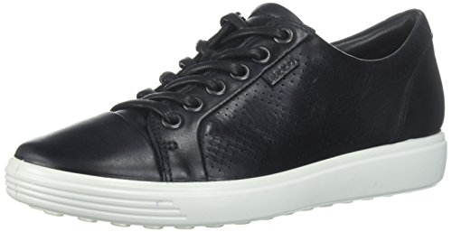 (ECCO Women's Women's Soft Perforated Fashion Sneaker, Black Nubuck, 38 EU/7-7.5 M)