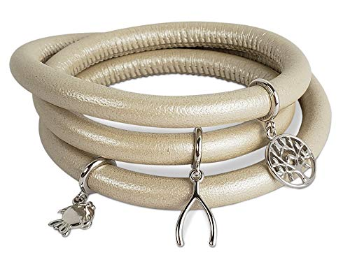 Metallic Calfskin Leather (Endless Jewelry Triple Cream Metallic Leather Bracelet with a Steel Lock & Lucky Charms for Women and Girls | Wrist Jewelry with Magnetic Clasp | Birthday Valentines Christmas Anniversary)