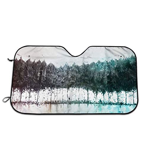 JML-LUV Lakeside Colorful Trees Windshield Sun Shade Sail Universal Fit Car Sunshade Protection - Keep Your Vehicle Cool. UV Sun and Heat Reflector (Size: 27.5
