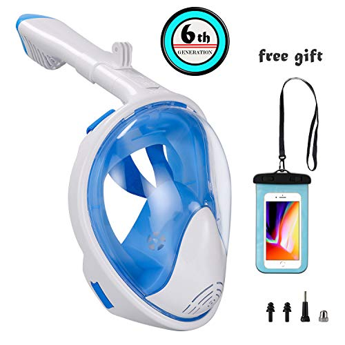 (Snorkel Mask Foldable-Full Face Free Breath-Panoramic View-Anti-Fog- Anti-Leak with Detachable GoPro Mount for Adult or Kids)