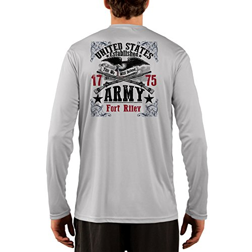 Fort Riley Army Base (Dead Or Alive Clothing U.S. Army Fort Riley Men's UPF 50+ Long Sleeve T-Shirt X-Small Pearl Grey)
