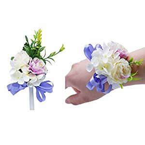 Florashop Satin Flower Corsage and Boutonniere Pack Wedding Bridal Bridesmaid Wrist Corsage Band Men's Groom Bridegroom Boutonniere for Wedding Prom Party Homecoming 48