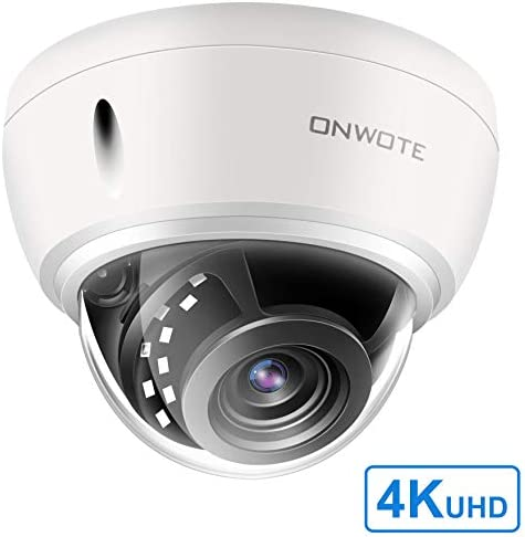ONWOTE UltraHD 4K 8MP IP PoE Security Camera Outdoor Dome, 3840×2160 8-Megapixel, 131ft NightVision, Wide View Angle, IP66 Weatherproof, Vandalproof, Onvif