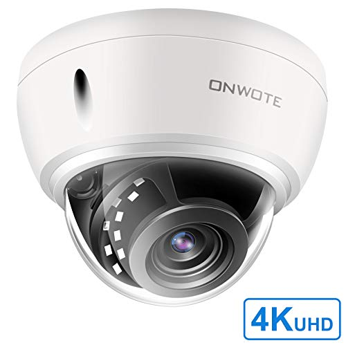 - 【Onvif H.265】 ONWOTE UltraHD 4K 8MP IP PoE Security Camera, Outdoor Dome, 3840x2160 8-Megapixel, 100ft NightVision, 110° View Angle, IP66 Weatherproof, Vandalproof, Hikvision Compatible