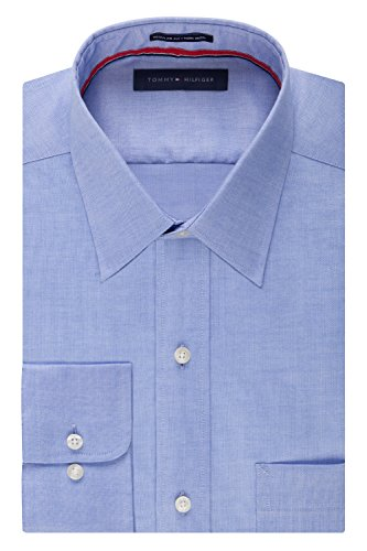 Tommy Hilfiger Men's Non Iron Regular Fit Point Collar Dress Shirt, Blue, 16