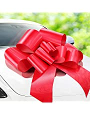 Zoe Deco Big Car Bow (Red, 76 cm / 30 inch), Gift Bow, Giant Bow for Car, Birthday Bow, Huge Car Bow, Big Red Bow, Bow for Gifts, Christmas Bow for Cars, Big Gift Bow, Party Bow