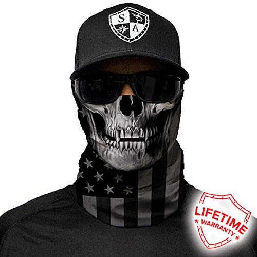 Salt Armour Face Mask Shield Protective Balaclava Bandana MicroFiber Tube Neck Warmer (Blackout American Flag Skull) by SA Company