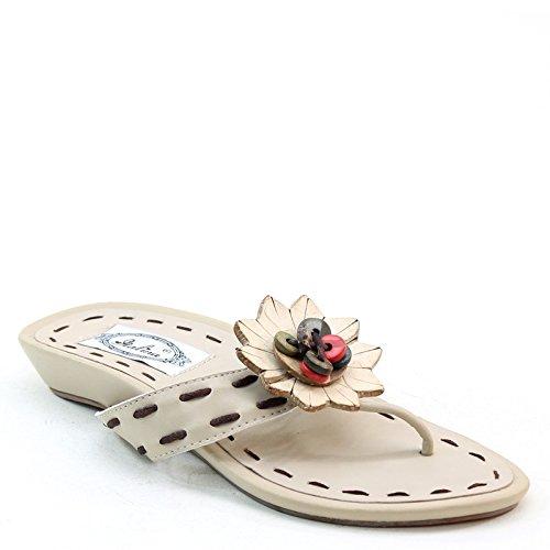 Ny Brieten Kvinna Knapp T-rem Blomma Platt Komfort Sandaler