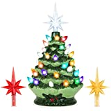 Best Choice Products 9.5in Ceramic Pre-Lit Hand-Painted Tabletop Christmas Tree Holiday Decor with Multicolored Lights, 3 Star Toppers, Green