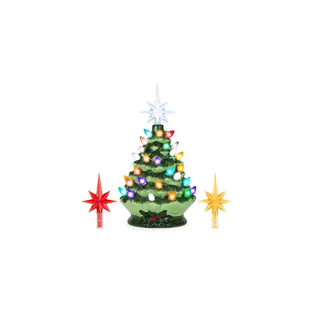 Best-Choice-Products-95in-Pre-Lit-Hand-Painted-Ceramic-Tabletop-Artificial-Christmas-Tree-Festive-Holiday-Decor-wMulticolored-Lights-3-Star-Toppers-Green