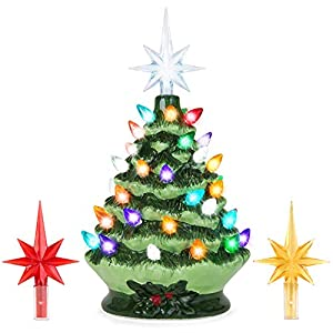 Best Choice Products 9.5in Pre-Lit Hand-Painted Ceramic Tabletop Christmas Tree w/Lights, 3 Star Toppers - Green 9