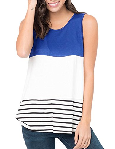 - Defal Women's Summer Sleeveless Striped Color Block T-Shirts Casual Tank Tops for Leggings (Blue,M)