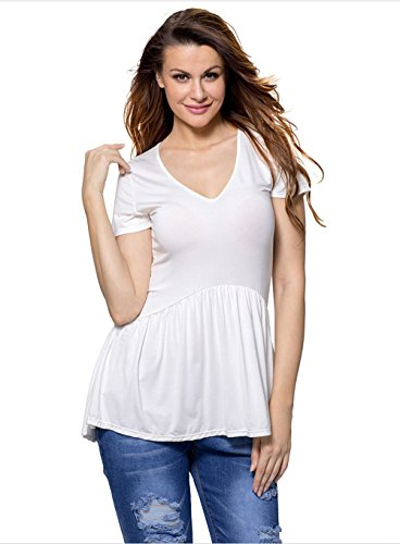 Sweetheart Tunic Top (SheShy Women V Neck Short Sleeve Peplum Tank Tops Loose Fitting Basic Shirts S-XXL (XXL, White))