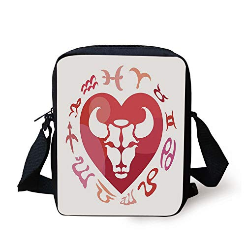 Taurus,Zodiac Sign Bull Personality Western Astrology Human Character Mystic Print Decorative,Dark Coral White Print Kids Crossbody Messenger Bag Purse