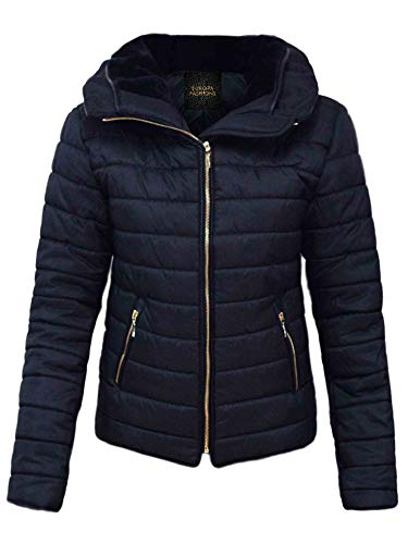 Padded Long Blue Fashions Sleeves Warm Ladies Love Up Fur Women My Collar Knitted Size Coat Quilted Bubble Plus Jacket Puffer Zip Winter Navy f4xntqPw