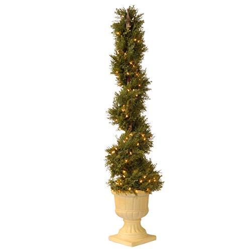 National Tree 54 Inch Artificial Slim Juniper Spiral Tree, Pre-Lit (LCYSP4-321-54) (Tree Lit Pre Spiral)