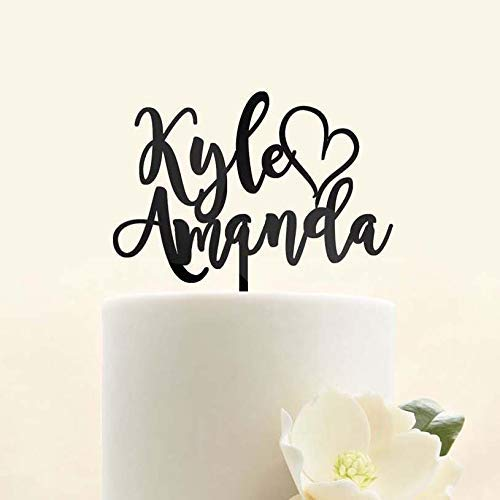 Custom Personalized First Name Heart Mr and Mrs Bride and Groom Wedding Cake Topper Modern Script Cursive Font
