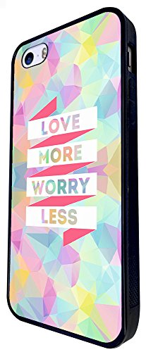 821 - Love More Worry Less Design iphone SE - 2016 Coque Fashion Trend Case Coque Protection Cover plastique et métal - Noir