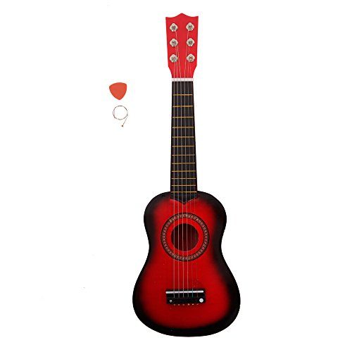 21 Inch 6 String Kid Acoustic Guitar Musical Instruments Toys for Beginners with String and Pick (Red) by OASIS FOX