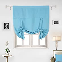 Deconovo Thermal Insulated Room Darkening Rod Pocket Adjustable Tie-up Blackout Curtain For Nursery 46Wx63L Inch River Blue 1 Panel