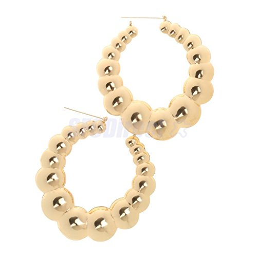 1 Pair Big Chunky Ball Door Knocker Hoop Earrings Hip-Hop Gold Tone Hoops by sfcdirect