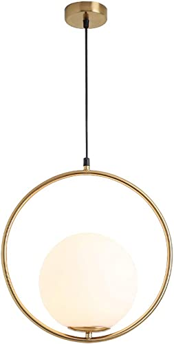 Modo Lighting Pendant Light Industrial Fixture, Golden with Frosted Glass Globe Shade Adjustable Island Kitchen Dining Room Ceiling Lamp 13.8
