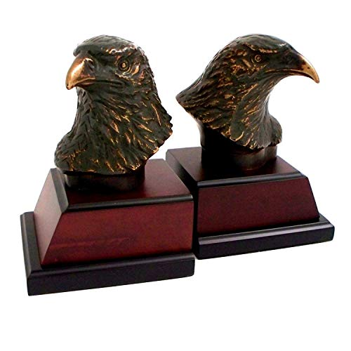 Bey Berk Cast Metal Bronze Finish Eagle Head Bookends