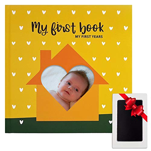 [해외]Unisex Baby Memory Book of Firsts - Baby Journal with Clear Touch Ink Pad for Baby Footprint and Handprint Set - Baby Scrap Book Album - Baby Memory Books - Baby Shower Gift Set by BabelJoy / Unisex Baby Memory Book of Firsts - Bab...