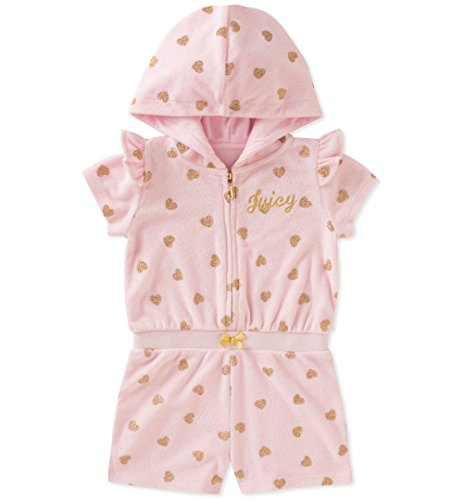 Juicy Couture Baby Girls Hooded Romper, Pink/Gold, 18M