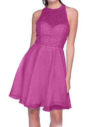 Charmant Promkleider Chiffon Abendkleider Attraktive Kurzes Tanzenkleider Cocktailkleider Damen Mini Fuchsia q6r70q