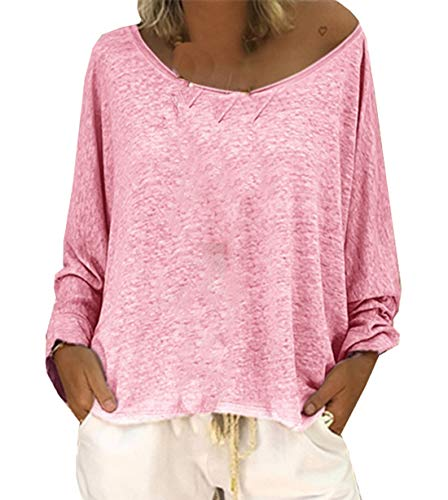Shirts Hauts Manches Longues Casual Lache Fashion Automne Femmes Rose Printemps T Jumpers Rond Col Blouse et Pulls Tees Tops 8qwHx7tPz