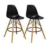 Mod Made Mid Century Modern Armless Paris Tower Barstool Chair with Natural Wood Legs for Bar or Kitchen- Black (Set of 2) Review