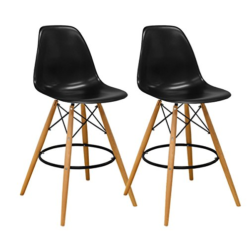 Mod Made Mid Century Modern Armless Paris Tower Barstool Chair with Natural Wood Legs for Bar or Kitchen- Black (Set of 2) ()