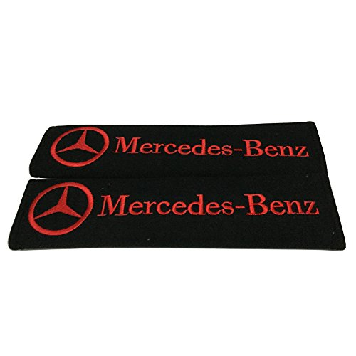 - Embroidery Red On Black Seat Belt Cover Shoulder Pad Pair Set For Mercedes-Benz