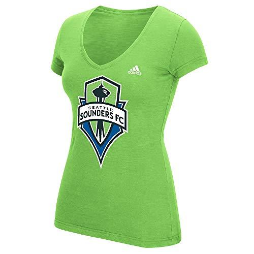 adidas Seattle Sounders FC MLS Women's Pearlized Pattern Team Logo Green Tri-Blend V-Neck T-Shirt (XX-Large)