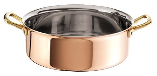Paderno World Cuisine Copper-Stainless Steel Rondeau Pan, 7 3/8-Quart by Paderno World (Paderno Stainless Steel Rondeau)