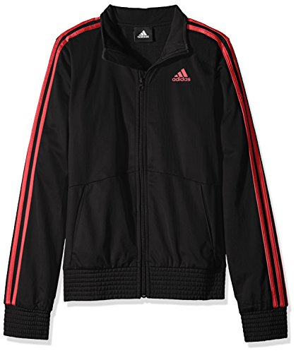 adidas Big Girls' Designator Track Jacket, Black/Shock Red, Small/7-8