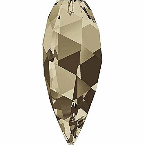 6540 Swarovski Pendant Twisted Drop Smoky Quartz | 12mm - Pack of 2 | Small & Wholesale Packs | Free Delivery (Smoky Swarovski Quartz Necklace)