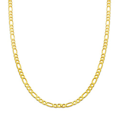 (10K Yellow Gold 5.5mm Solid Figaro Chain Necklace (24 inches))