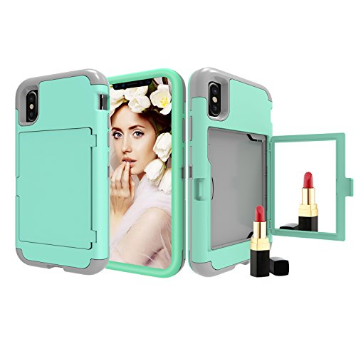 Mirror Hard Case - iPhone Xr Case, Solomo Wallet Case Design with Hidden Back Mirror and Card Holder Heavy Duty Protection Shockproof Armor Protective Case for iPhone Xr 6.1'' (Teal)