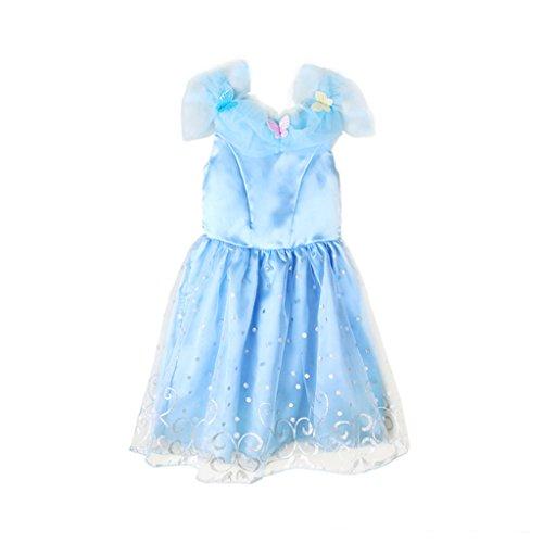 EITC Girls Princess Dress Blue Butterflies Queen Costume 3-7Y 5T (International Dress Up Ideas)