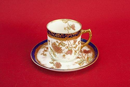 Antique Flamboyant COFFEE CUP Floral Medium Kitchen Saucer Gold Bone China Art Nouveau Unique English Circa 1900 LS