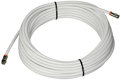 Low Loss RG-6 Coaxial Digital Audio Video Cable White, F Pin Coax Extension UL, 50-Feet