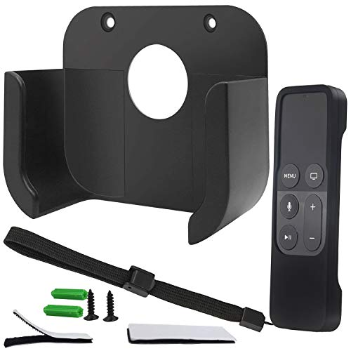 Wall Mount Bracket Holder with Remote Cover Compatible for Apple TV4 4K - Pinowu TV Mount and Siri Remote Protective Case Suitable for Apple TV 4/4K[5th Gen] (Black)