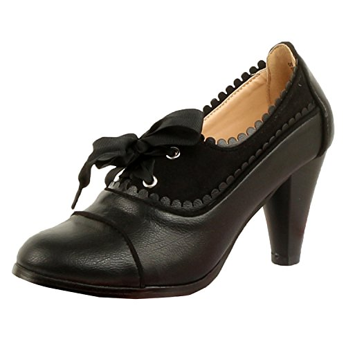 Oxford Lace Up Pump Shoes (Guilty Shoes Classic Retro Two Tone Embroidery Wing Tip Lace Up Kitten Heel Pump Oxfords Shoes Oxfords, Black, 8 (B) M US)