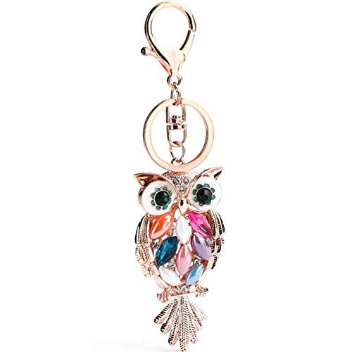AYHU Rose Gold Tone Cute Owl Bag Charm Keychain Car Key Chain with Key Rings for Women Girls ()